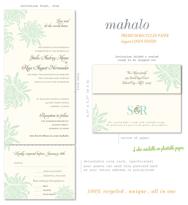 For Ever Hawaii Theme Wedding Invitations