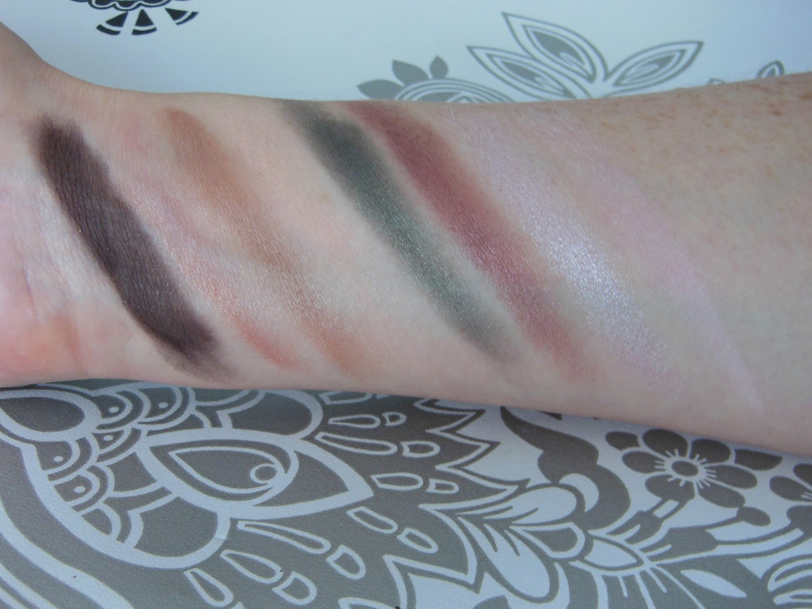 Trish McEvoy Azure collection makeup planner eye shadow swatches