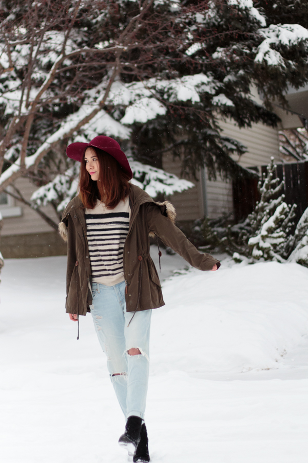 parka, winter fashion, calgary fashion, felt hat, boyfriend jeans, wedge boots, Josefina, 7 for all mankind