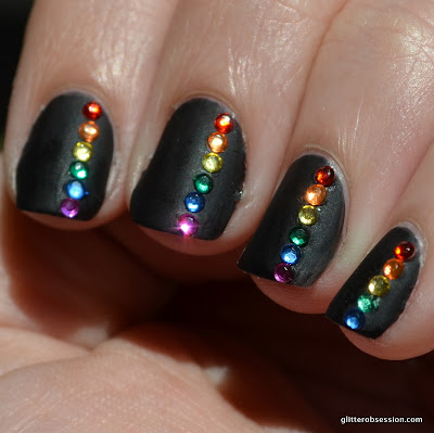31cd2013, 31 day challenge, nail art, black nail art, black nails nail art, matte black, rhinestones, rhinestones nail art, rainbow, rainbows, rainbow nail art