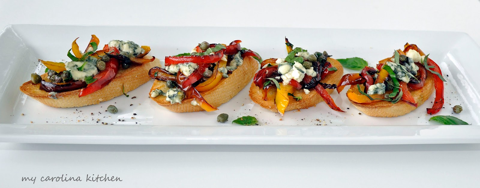 My Carolina Kitchen: Bruschetta with Sautéed Sweet Peppers and Creamy ...