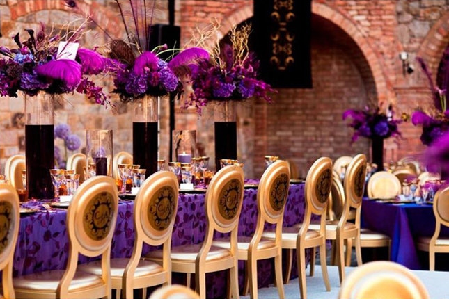 Wedding Inspiration: Stunning Purple + Gold Decor - Belle the
