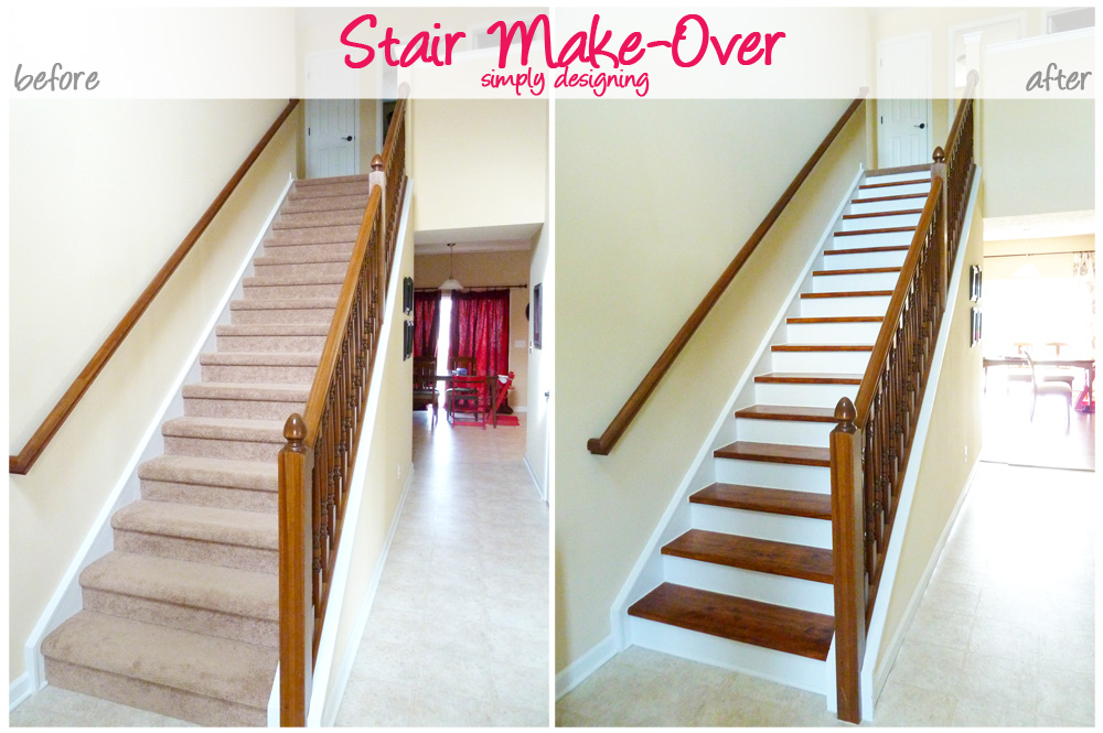Collage Photo Of Stairs Before With Carpet And Stars After Stained And  Painted