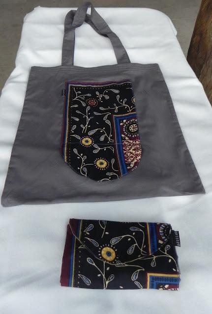 imagem sacola de compras com tecido africano
