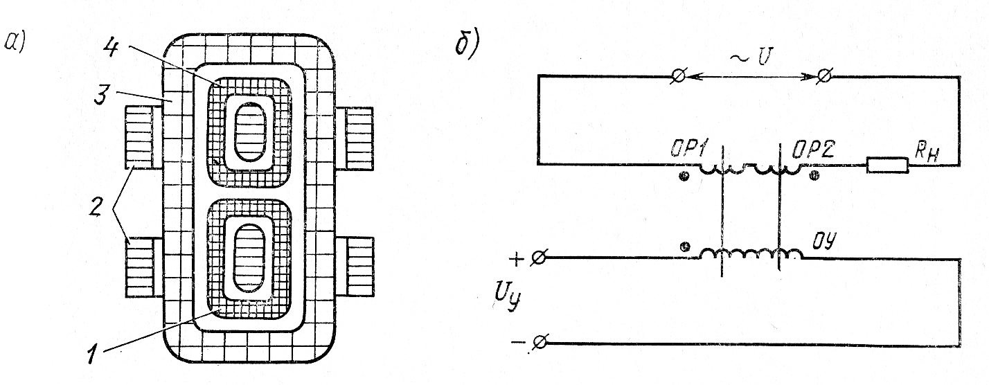 Устройство (а) и схема включения (б) магнитного усилителя