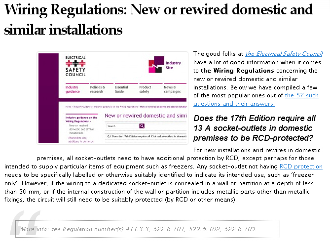 New or rewired domestic installations and the wiring regulations