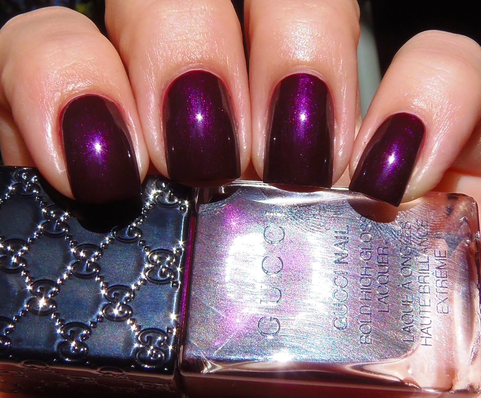 Sparkly Vernis: Gucci Absolute Purple is a dark burgundy with pink ...