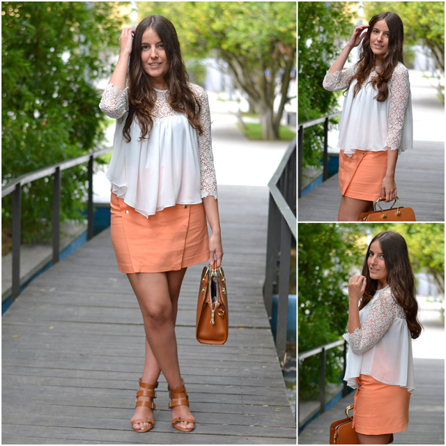 orange skirt zara, white top, camel sandals, seekmoon