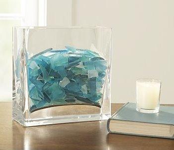 Beach glass in glass vase