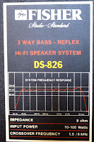 Fisher+DS-826+Speaker+Vintage+specifications