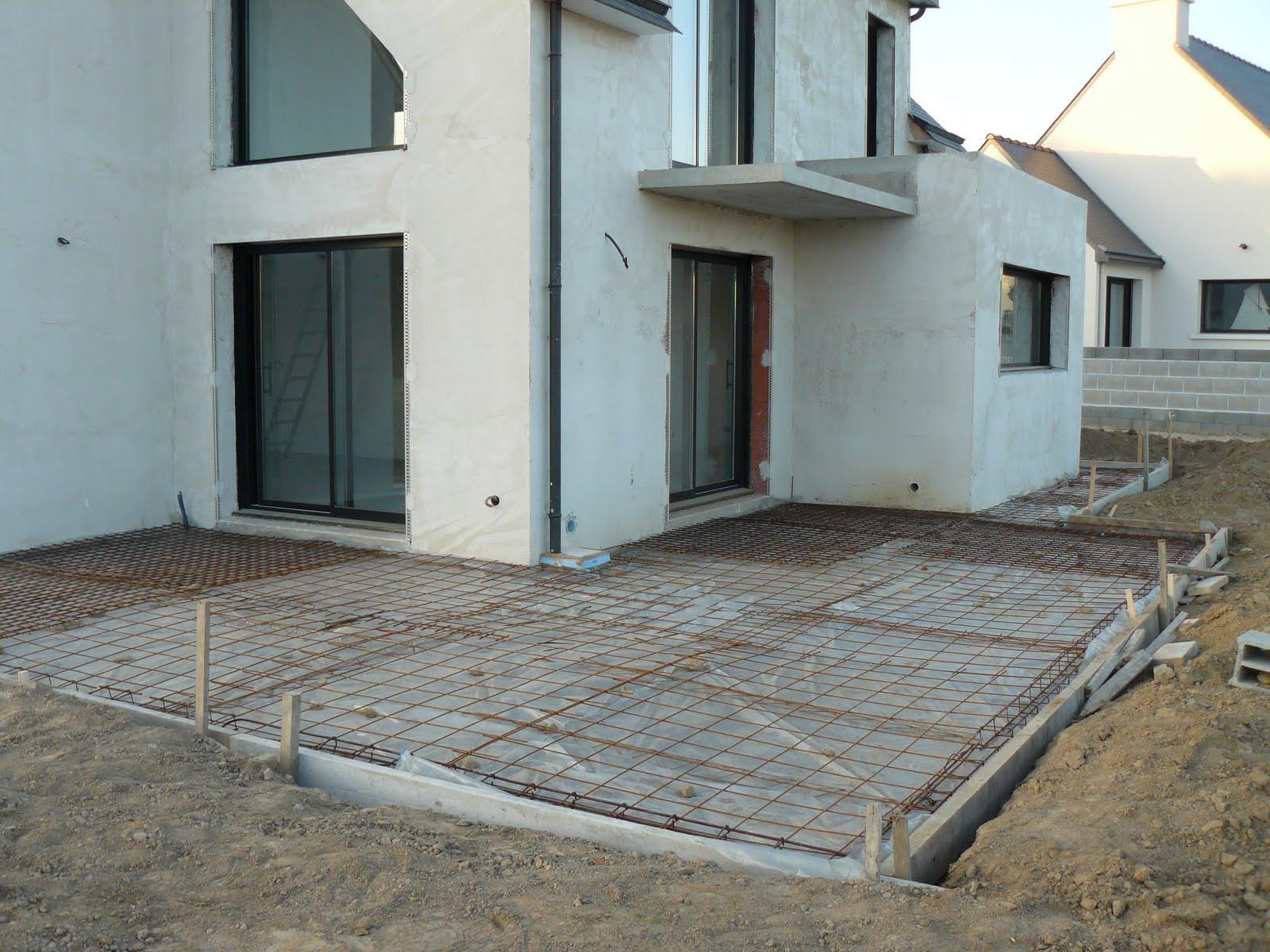 Construction de notre maison ferraillage de la terrasse - Faire une dalle de terrasse ...