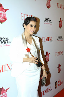 Actress Kajol Pictures in White Long Dress at The Femina Beauty Awards 201523
