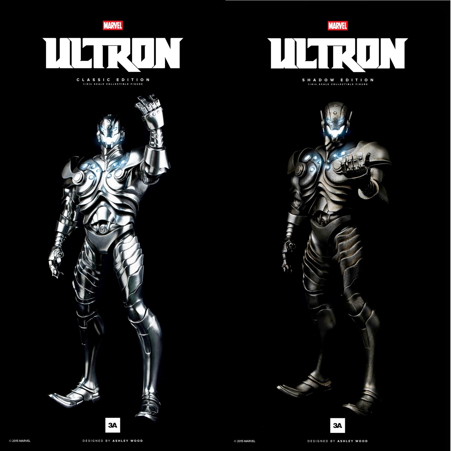 ThreeA x Marvel Ultron 16 Scale Action Figures - Classic Edition & Stealth Edition