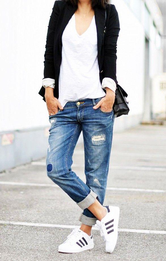 adidas blancas hombre jeans