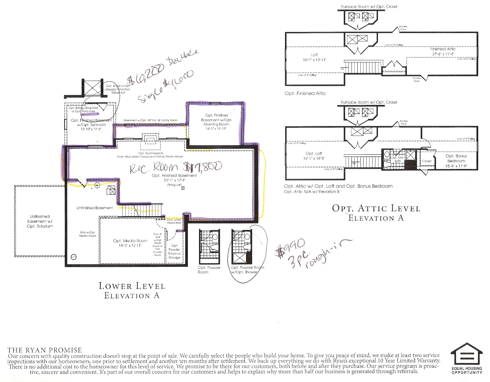 Building A Ryan Home Avalon The Beginning Stages The Options - Home floor plans with prices
