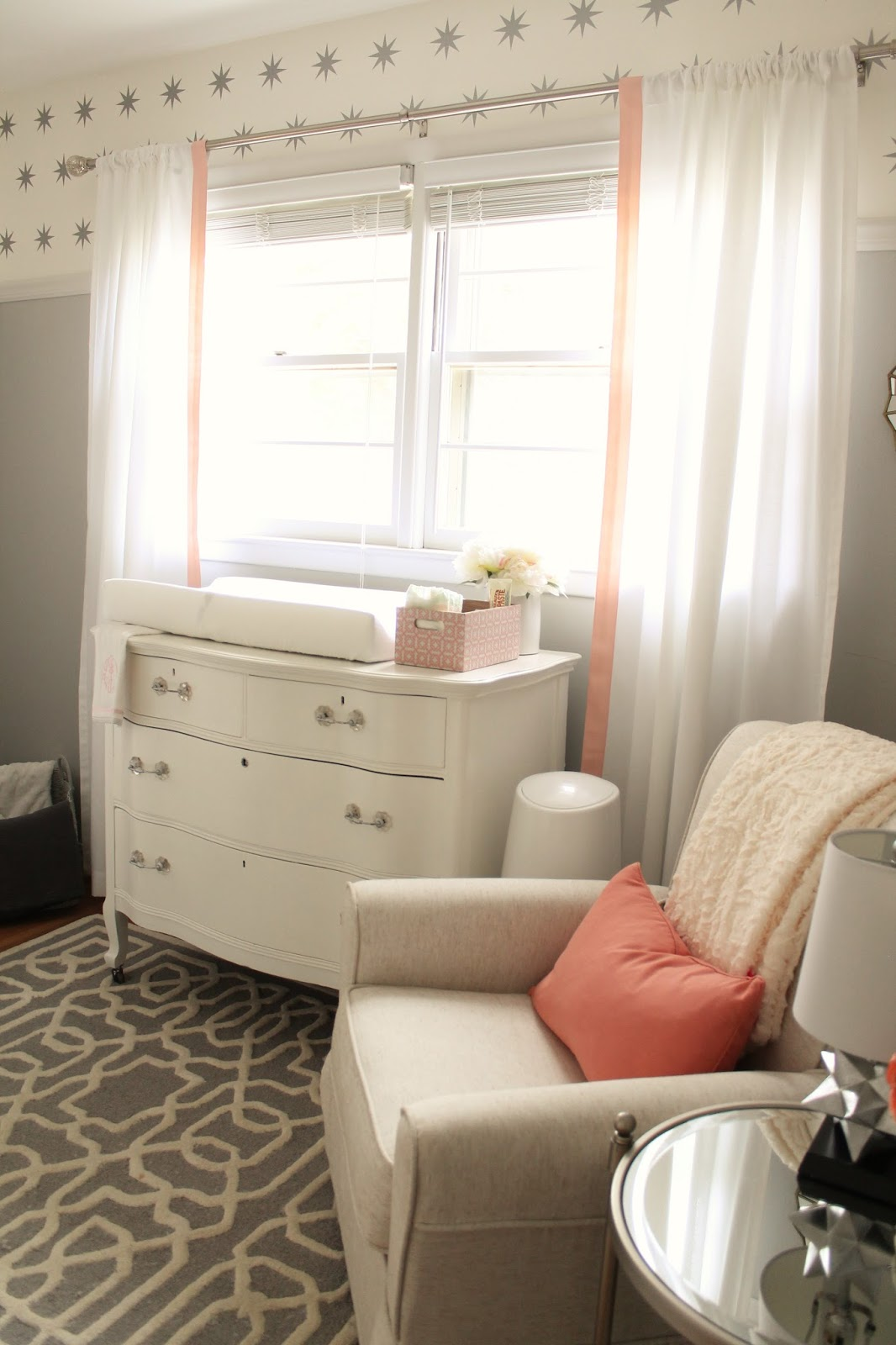 12th and white peach and gray nursery reveal for Peach and gold bedroom