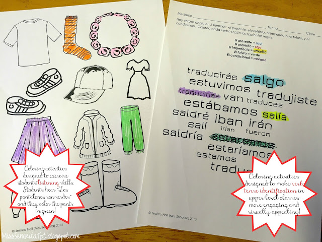 Spanish clothing vocabulary and Spanish verb tenses coloring activities