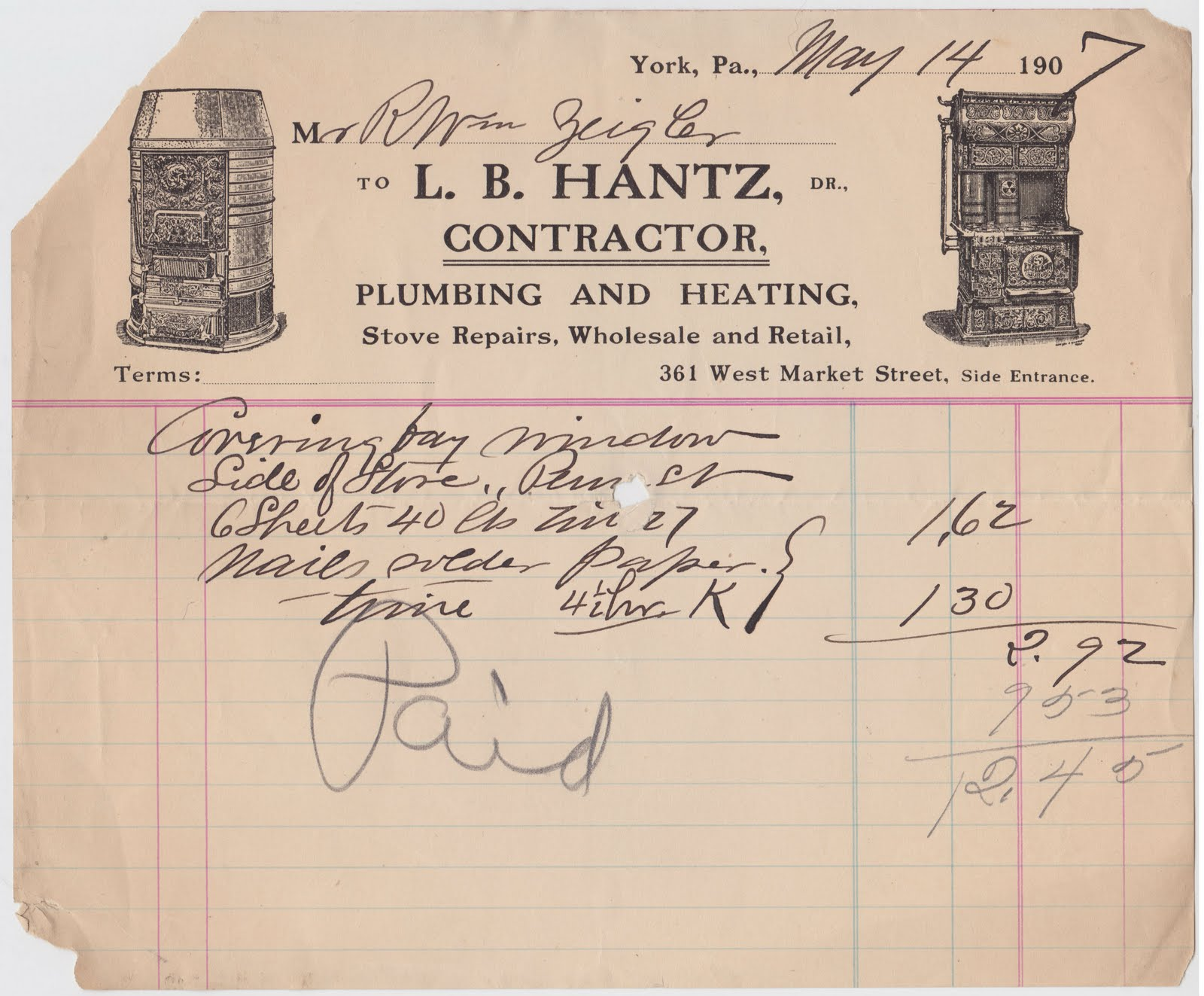 Papergreat An old receipt from LB Hantz contractor of York – Contractor Receipt