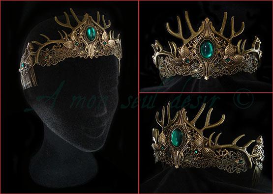 couronne bronze vert émeraude bois de cerf biche déesse wicca tiare diadème fantasy