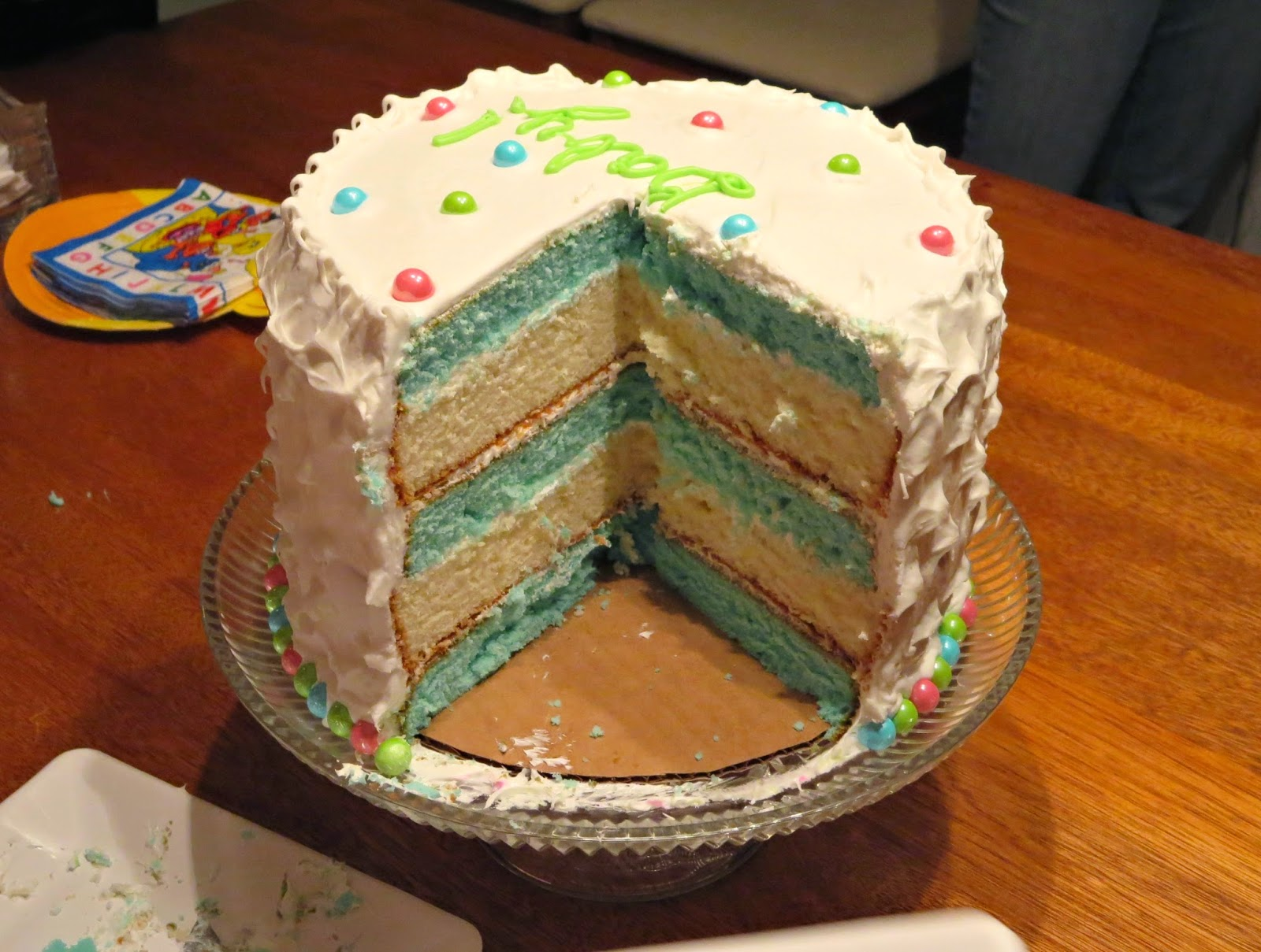 Baby Gender Reveal Cake - Inside of Cake - It's a BOY 2