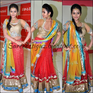 Yellow with red half saree