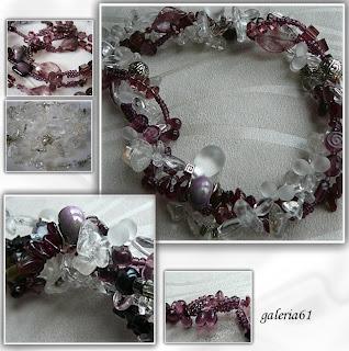 Naszyjnik fioletowy - przezroczysty, szkło, kamienie, porcelana