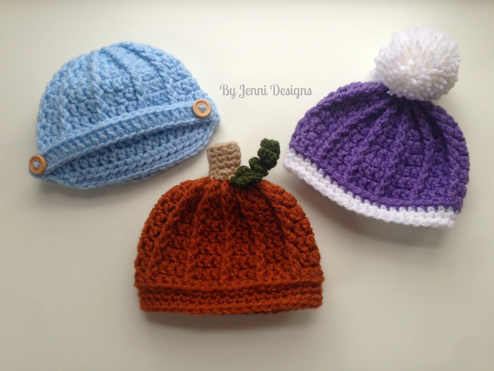 By Jenni Designs: Free Crochet Pattern: Newborn Ribbed Beanie or ...