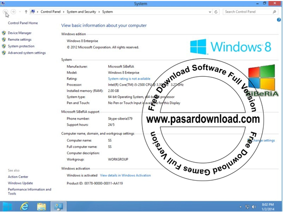 Download Windows 8 Enterprise x64 x32 v.0.6 2014 Activated File ISO