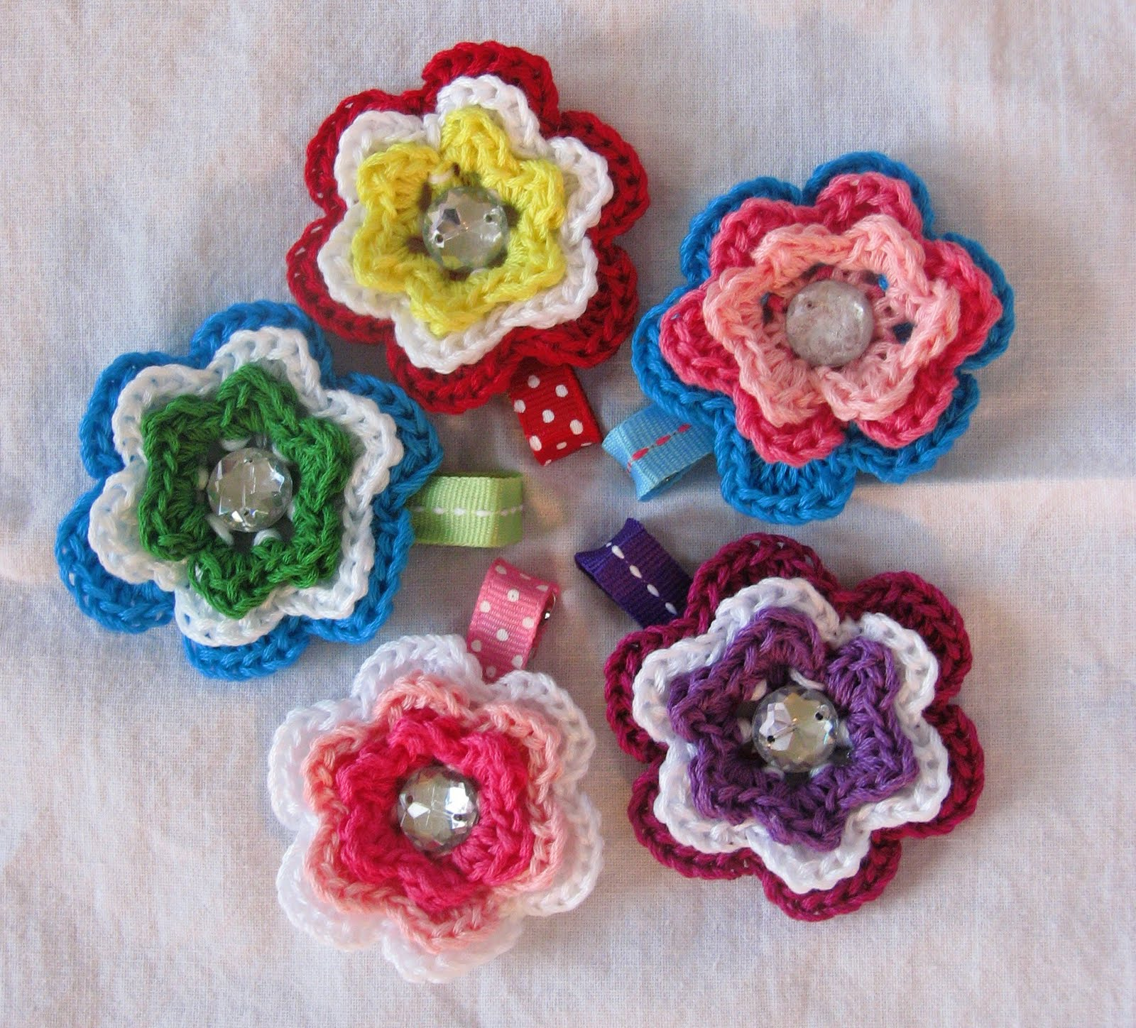 Crochet Hair Clips : Stitches By Stacy: Crochet Flower Hair Clips