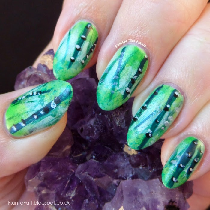 Nail Art based on the fight in the bamboo forest scene from House of Flying Daggers.
