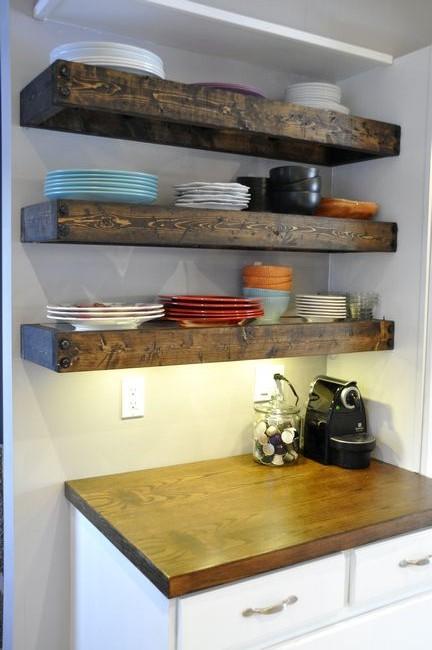 Artisan des arts aged wood floating shelves diy with