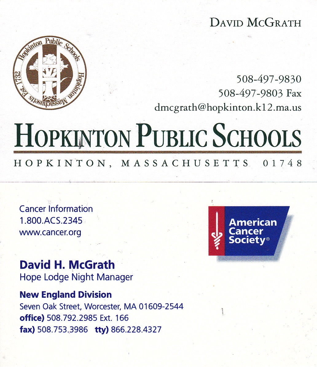 My Life Scanned: Hopkinton Schools and American Cancer Society ...