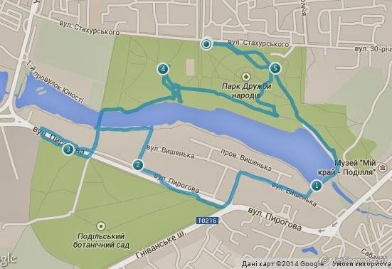 Дистанция на карте тренировки по Охоте на Лис (ardf, радиопеленгация) в Парке Дружбы, в Виннице.