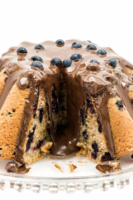 Banana bread with blueberries and chocolate center cut chocolate