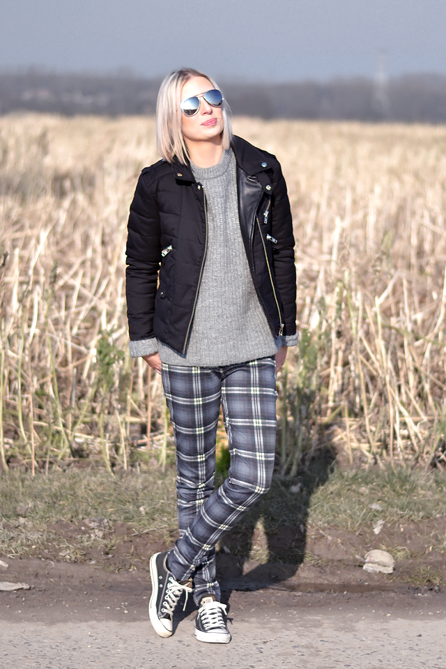 Wearing: The kooples, jacket, zara, knit, jumper, grey, mohair, tartan, trousers, converse all star black, mango