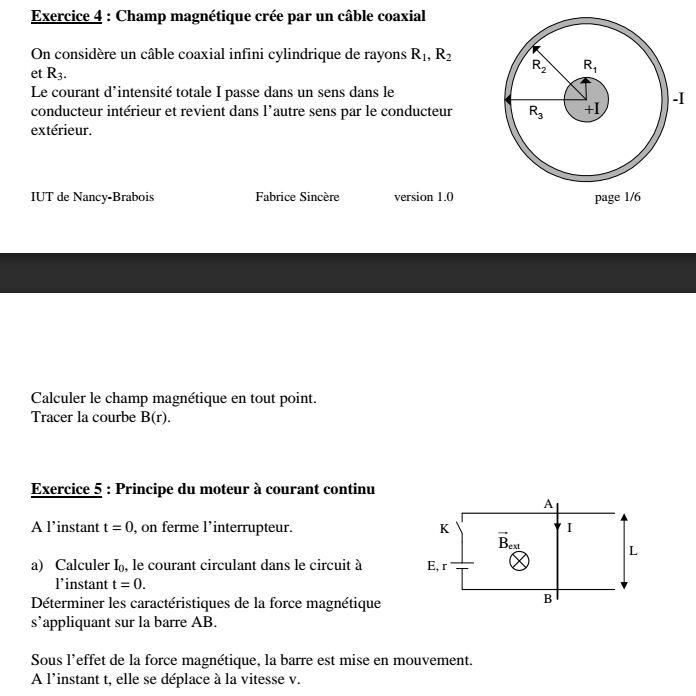 Exercice corrigé champ magnétique crée par un solénoide