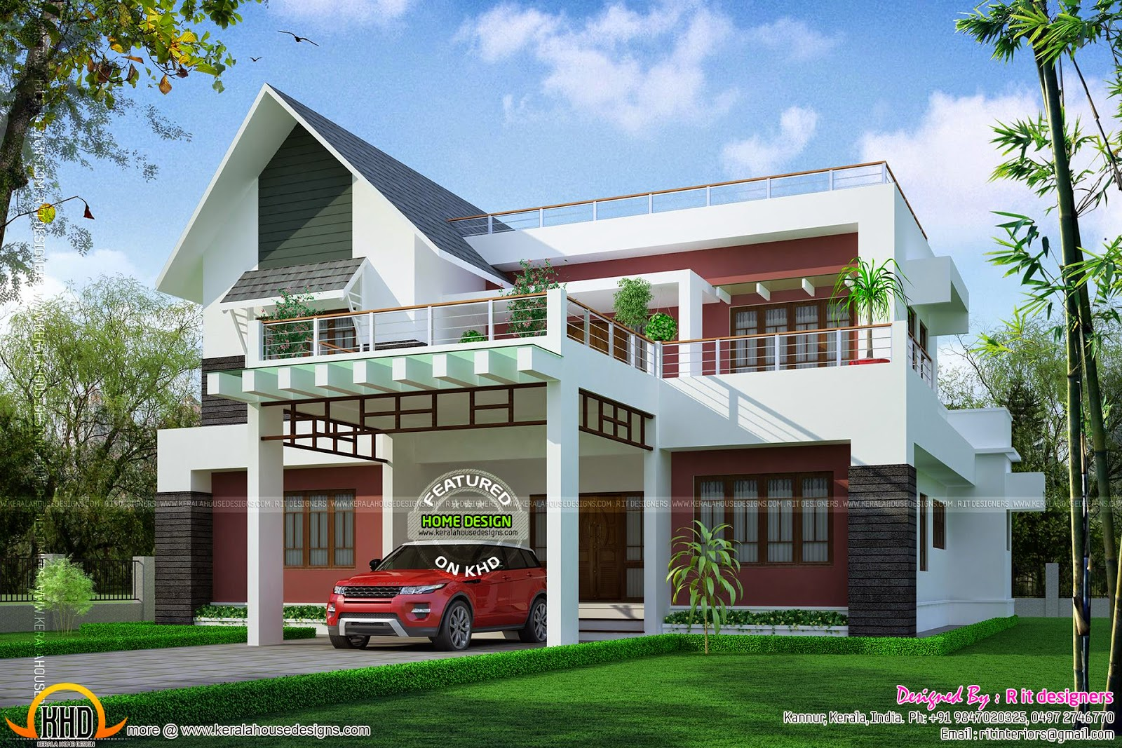 Modern mix sloping roof elevation kerala home design and for Sloped roof house plans in india