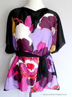 easy flowery shirt sewn from refashioned scarves