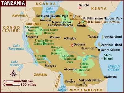 Tanzania mapa