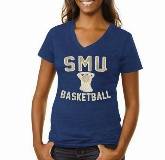 SMU Basketball Ladies V-Neck T-Shirt