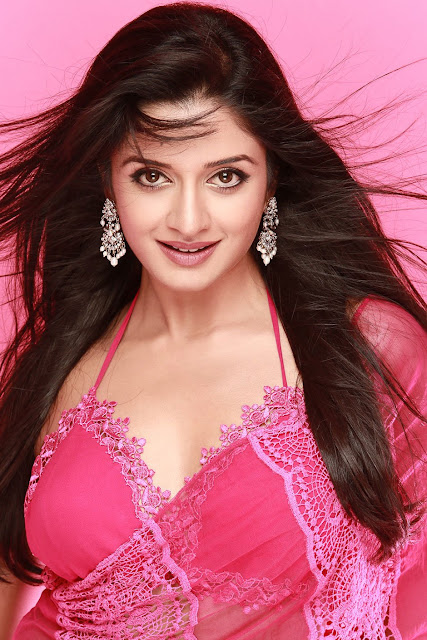 Vimala Raman Big Cleavages In Pink Saree