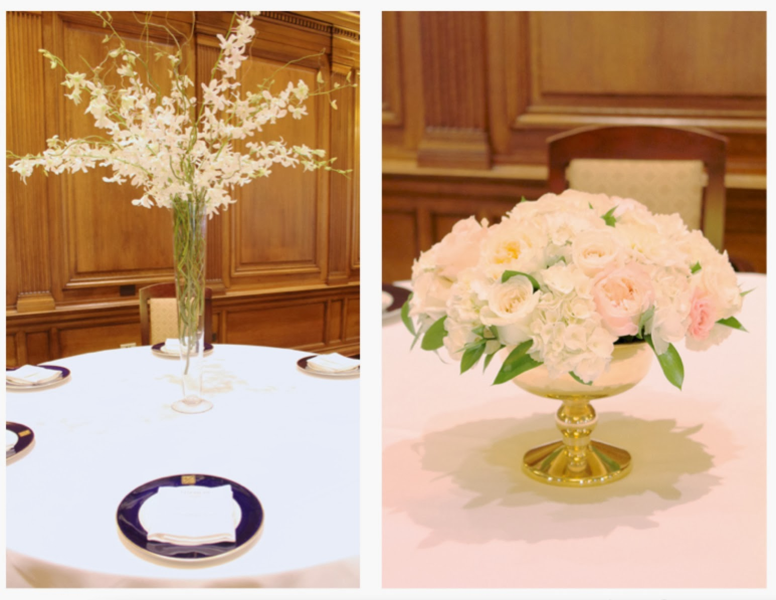 Elevated branch and orchid classic elegant white centerpiece and gold compote centerpiece by Sweet Pea Floral Design for Detroit Athletic Club wedding