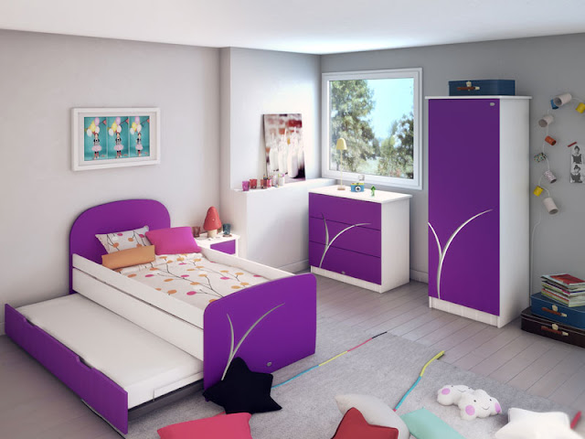 D coration chambre fille violet for Decoration de chambre d une fille
