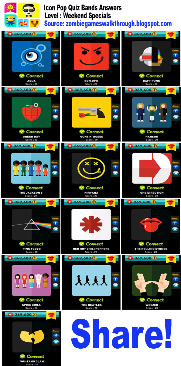 Icon Pop Quiz Weekend Specials Bands Answers | Zombie Games ...