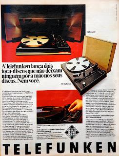 propaganda toca discos Telefunken - 1976. anos 70.  Reclame 1976.  década de 70. os anos 70; propaganda na década de 70; Brazil in the 70s, história anos 70; Oswaldo Hernandez;