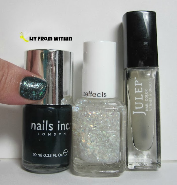 Here's the bottle shot of my first attempt:  Nails Inc Kensington, Essie Sparkle On Top, and Julep Matte Top Coat.