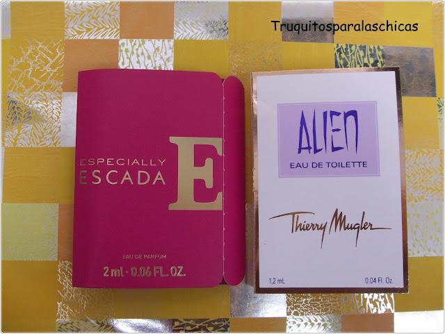 Muestras de perfume Escada y Alien