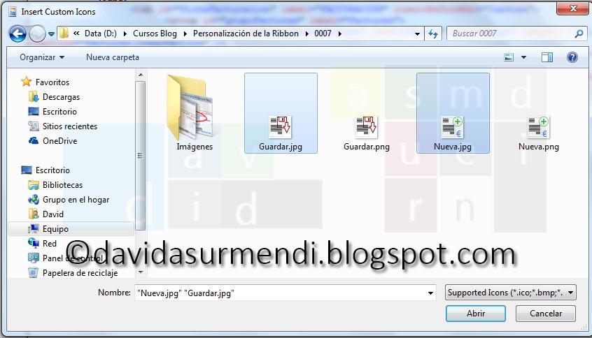 Seleccionamos las imágenes que vamos a insertar en el documento de Excel.