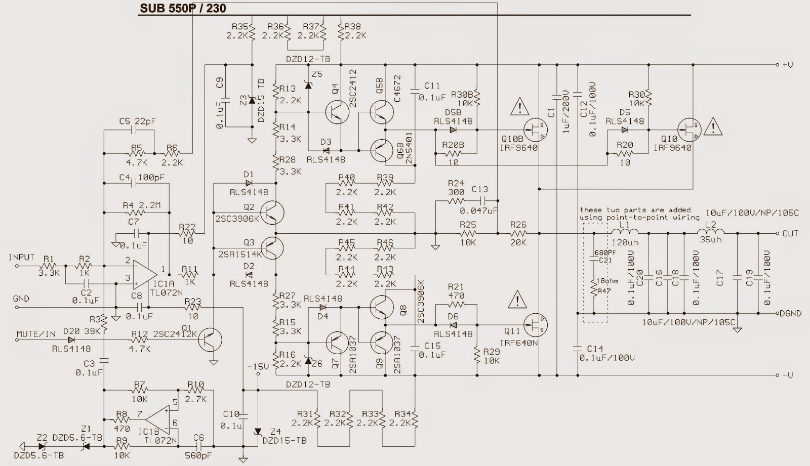 sub550p jbl amplifier sub-woofer - schematic