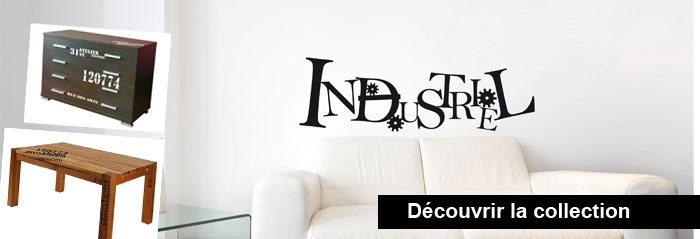 stickers muraux des d co originales avec des autocollants le style industriel s 39 installe sur. Black Bedroom Furniture Sets. Home Design Ideas